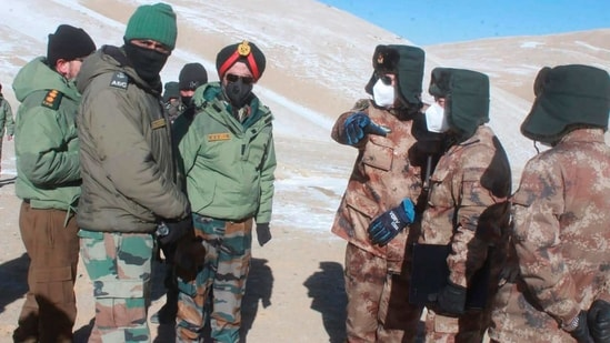 China and India are pulling back front-line troops from disputed portions of their mountain border where they have been in a standoff for months. Both countries say the troops began the disengagement on February 10 at the southern and northern banks of Pangong Lake in the Ladakh region. (Indian Army via AP)