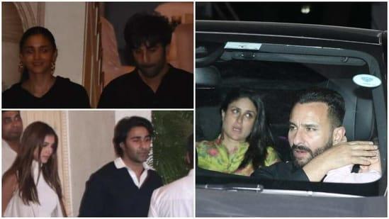 Alia Bhatt with Ranbir Kapoor, Saif Ali Khan with Kareena Kapoor and son Taimur, Tara Sutaria with Aadar Jain at Rajiv Kapoor's house.