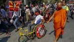 Troops have fanned out around the country in recent days and fired rubber bullets to disperse one rally in Mandalay, hours before authorities again cut internet gateways. (AP)