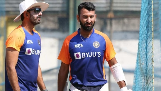 Cheteshwar Pujara with Team India batting coach Vikram Rathore(BCCI / Twitter)