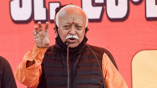 Patna: Rashtriya Swayamsevak Sangh (RSS) chief Mohan Bhagwat speaks during 'bhumi pujan' of Seva Sadan Bhavan, which will serve food and lodging for outstation patients and their family members at cheaper rates, in Patna, Thursday, Feb. 11, 2021. (PTI Photo)(PTI02_11_2021_000131B)(PTI)