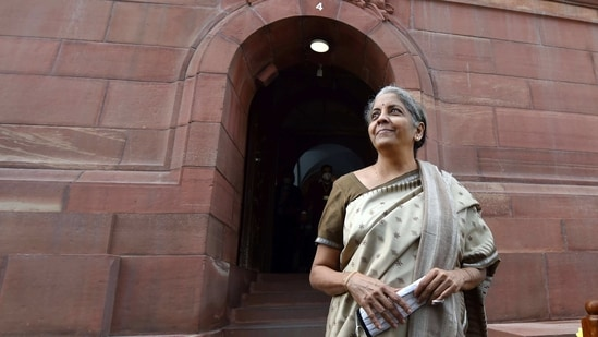 Union Finance Minister Nirmala Sitharaman at Parliament, during the ongoing Budget Session, in New Delhi. (PTI)