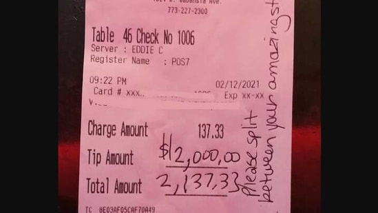 The image shows a portion of the eatery's receipt (Facebook/@clubluckychicago)