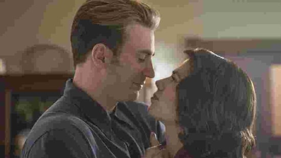 Steve Rogers and Peggy Carter at the end of Avengers Endgame.