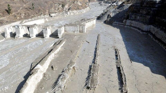 The washed away Tapovan hydel power project plant in Chamoli district of Uttarakhand.(Jayashree Nandi/ HT Photo)