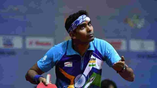 Sharath Kamal Achanta of India competes against Maharu Yoshimura of Japan during day two of the ITTF-Asian Table Tennis Championships at Among Raga Stadium.(Getty Images)