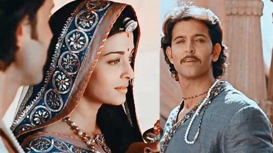 Aishwarya Rai and Hrithik Roshan in stills from Jodhaa Akbar.