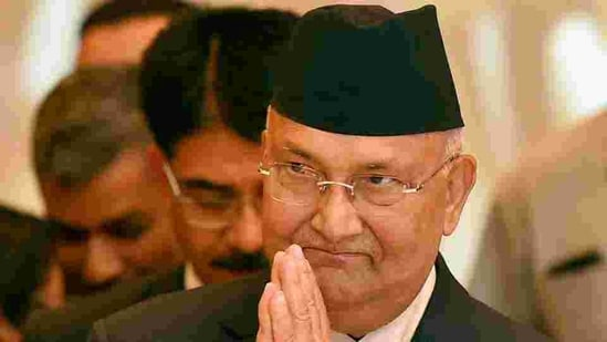 Nepal's Prime Minister KP Oli during a meeting with Indian industrialists in New Delhi on Friday.(PTI Photo)