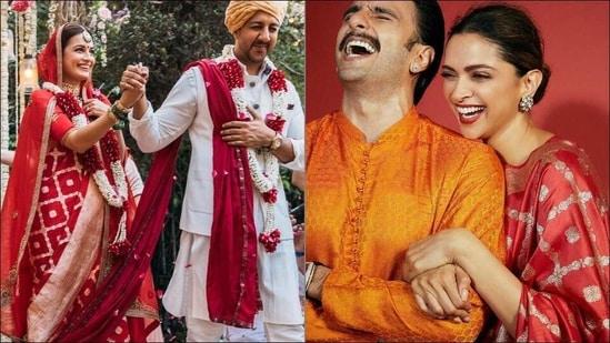 Dia Mirza's Banarasi red bridal saree same as Deepika Padukone's last Diwali one(Instagram/diamirzaofficial/ranveersingh)