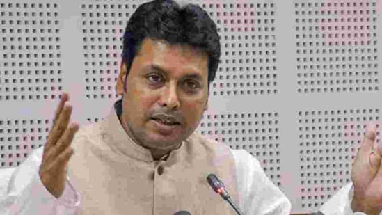 Tripura chief minister Biplab Kumar Deb sparked a controversy when he told an event on February 13 that Union home minister Amit Shah had earlier spoken about plans to expand the BJP's influence in neighbouring countries.(PTI)