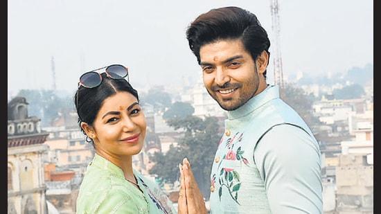 Actor-couple Gurmeet Choudhary and Debina Bonnerjee in Ayodhya on Tuesday (Sourced photo)