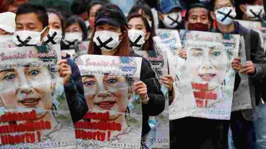 Image result for Protesters in Myanmar reject army's claim it has public support