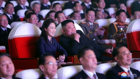 North Korean leader Kim Jong Un and his wife Ri Sol Ju watch a performance that commemorated the Day of the Shining Star, the birth anniversary of the late leader Kim Jong Il at the Mansudae Art Theatre in Pyongyang, North Korea. (REUTERS)