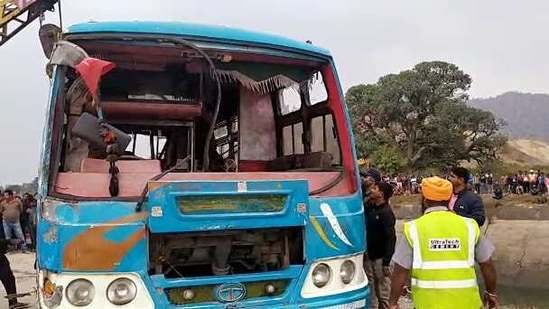 The bus that plunged into a canal taken out during a rescue operation, in Sidhi district on Tuesday. (ANI Photo)