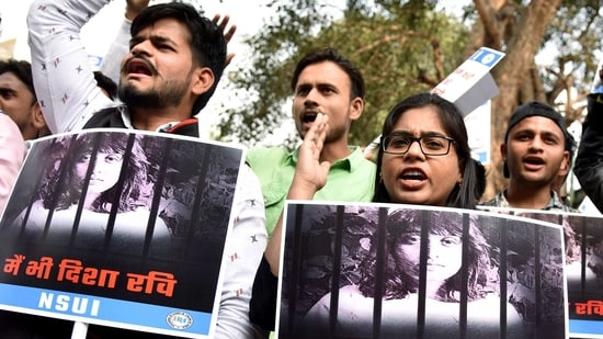 National Students Union of India (NSUI) supporters hold placards as they shout slogans during a protest against the arrest of Disha Ravi, in New Delhi (ANI Photo)
