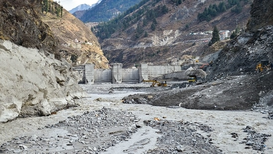 Rescue and restoration work continues at damaged Tapovan barrage, weeks after the glacier burst at Joshimath which triggered a massive flash flood on Feb. 7, in Chamoli district of Uttarakhand,(PTI)