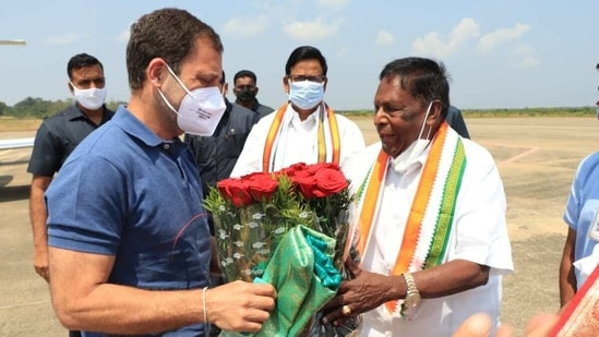 Gandhi's visit comes amid a political crisis in Puducherry, with the Congress-led government losing majority and Lieutenant Governor Kiran Bedi recalled by the President.(Twitter/@VNarayanasami)