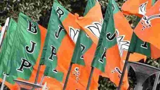 BJP flags at party headquarters in New Delhi.(Mohd Zakir/HT PHOTO)