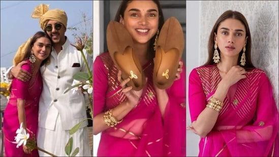 Dia Mirza's BFF Aditi Rao Hydari stuns in hot pink orgaza saree at joota chhupai - Hindustan Times