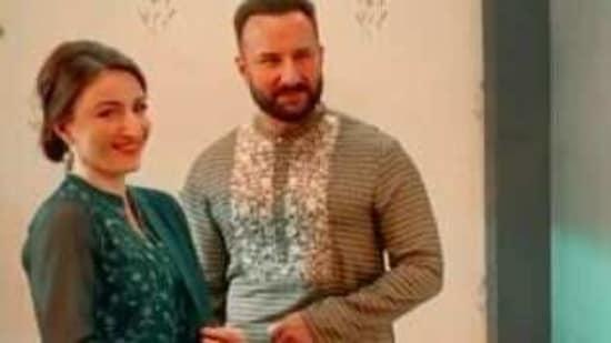 Saif Ali Khan and Soha Ali Khan in a screengrab from her video.