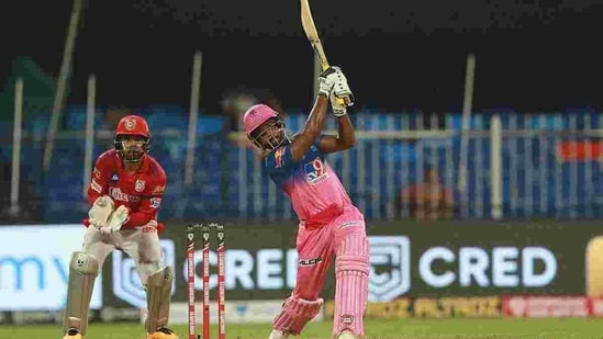 Sanju Samson hits one into the stands during IPL 2020.(IPL)