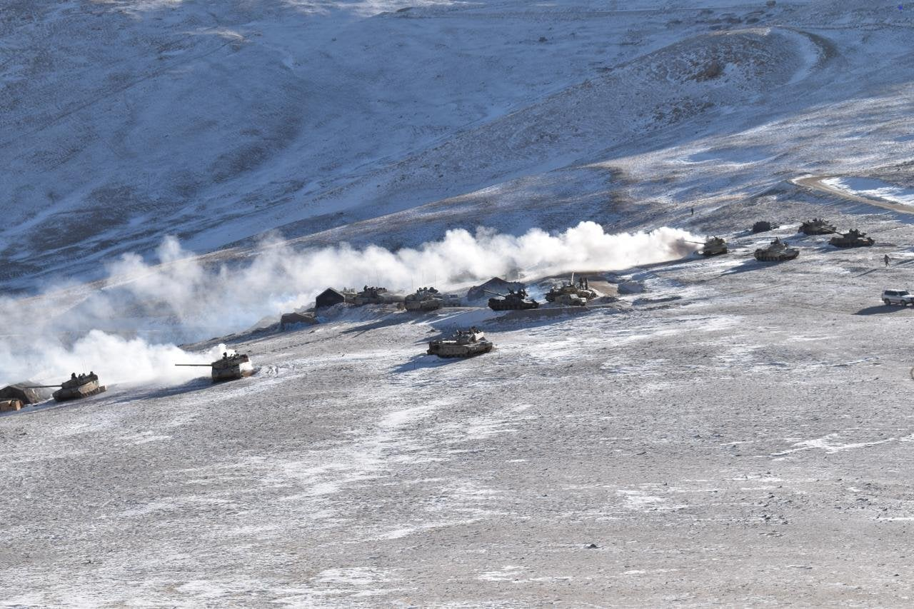 Indian and Chinese troops and tanks disengaging from the banks of the Pangong lake area in Eastern Ladakh. (ANI Photo)
