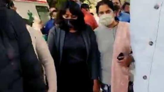Activist Disha Ravi sent to 5 days Delhi police special cell custody, in New Delhi on Sunday.(ANI)