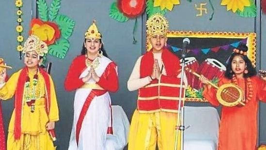 Children of Amity International School, Mohali, staging a play to highlight the significance of Basant Panchami.