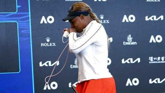 United States' Serena Williams leaves a press conference following her semifinal loss to Japan's Naomi Osaka at the Australian Open tennis championship in Melbourne, Australia, Thursday, Feb. 18, 2021.(AP)