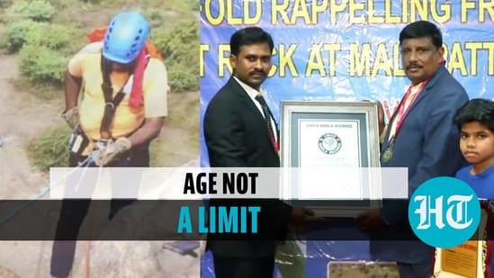 53-yr-old man rappels down 155-ft rock blindfolded