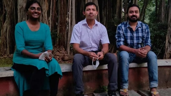 Prof. Sanjib Senapati (Centre), Dept of Biotechnology, IIT Madras with his Research Scholars, Chinmai Pindi (Left) and Mohammed Ahsan (Right)(Handout image)