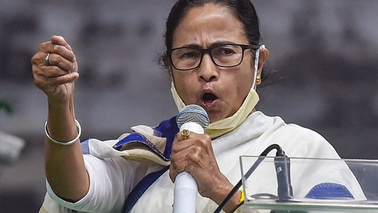 West Bengal chief minister Mamata Banerjee in an addresses in Kolkata.(PTI)
