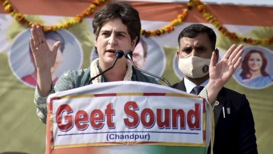 Earlier, Priyanka Gandhi Vadra addressed the Kisan panchayat in the Bijnor district of Uttar Pradesh on February 15.(PTI)