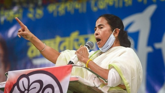 West Bengal Chief Minister Mamata Banerjee addresses a public rally at Poilan in Kolkata, (PTI)