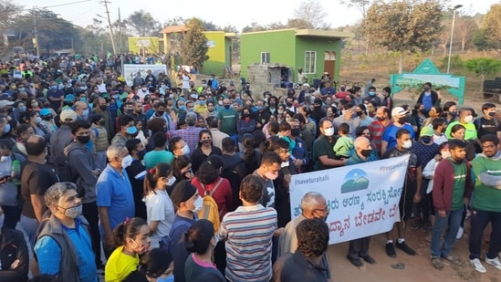 Protests against the tree park project at Turahalli reserve forest area in Karnataka(HT Photo)