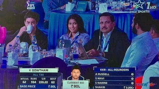 Aryan Khan and Jahnavi Mehta at the IPL auction 2021.