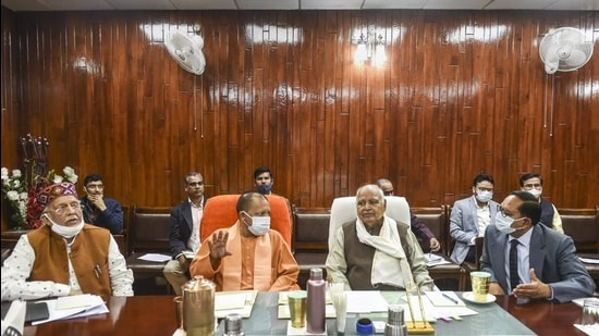 Uttar Pradesh chief minister Yogi Adityanath, Assembly Speaker HN Dixit and others attend an all-party meeting, ahead of the Budget Session, in Lucknow on Wednesday, February 17. (PTI)