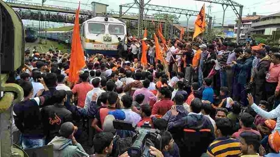 At Lonavla, protestors took the agitation further and organised a rail roko protest on Thursday.(HT File Photo )