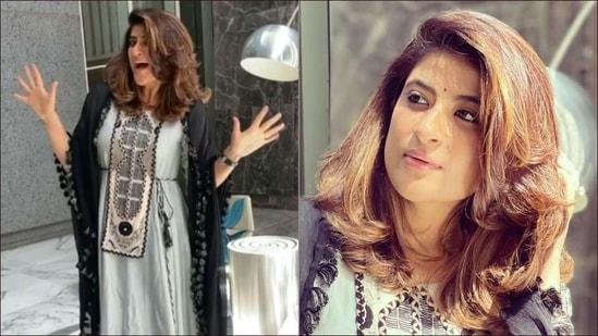 Tahira Kashyap proves happy girls are prettiest in chanderi high low kurta, pant(Instagram/tahirakashyap)