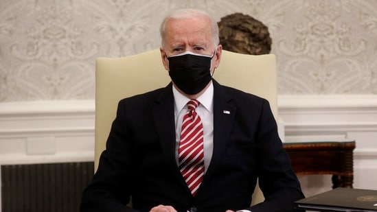 US President Joe Biden hosts a meeting in the Oval Office at the White House in Washington, US February 17, 2021.(REUTERS)