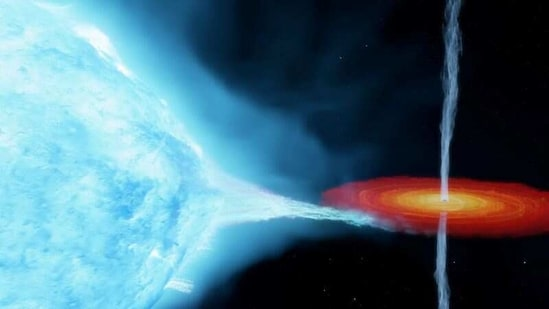 An artist's impression of the Cygnus X-1 system, with a so-called stellar-mass black hole orbiting a companion star some 7,200 light years from Earth.(via REUTERS)