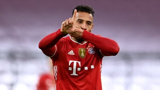 FILE PHOTO: Soccer Football - Bundesliga - Bayern Munich v Arminia Bielefeld - Allianz Arena, Munich, Germany - February 15, 2021 Bayern Munich's Corentin Tolisso celebrates scoring their second goal Pool via REUTERS/Christof Stache DFL regulations prohibit any use of photographs as image sequences and/or quasi-video./File Photo(Pool via REUTERS)