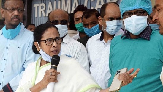 West Bengal Chief Minister Mamata Banerjee at the SSKM Government Hospital where she met state labour minister Jakir Hossain, in Kolkata on Thursday. (ANI PHOTO).