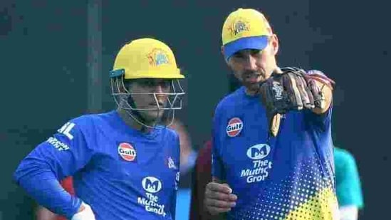 CSK captain MS Dhoni along with coach Stephen Fleming