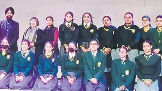 Students during the felicitation ceremony at Green Grove Public School, Ludhiana.