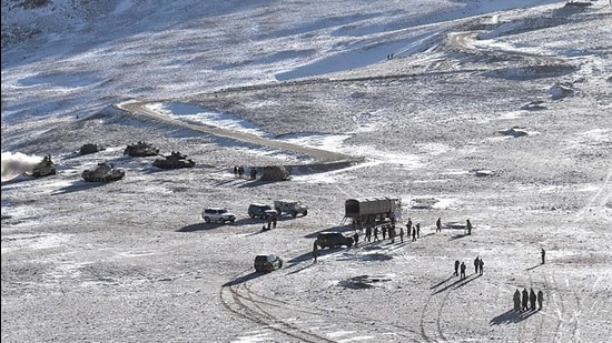 People Liberation Army (PLA) soldiers and tanks during military disengagement along the Line of Actual Control (LAC) at the India-China border in Ladakh. (AFP)