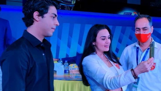 Preity Zinta and Aryan Khan from the Indian Premier League (IPL) auction 2021.