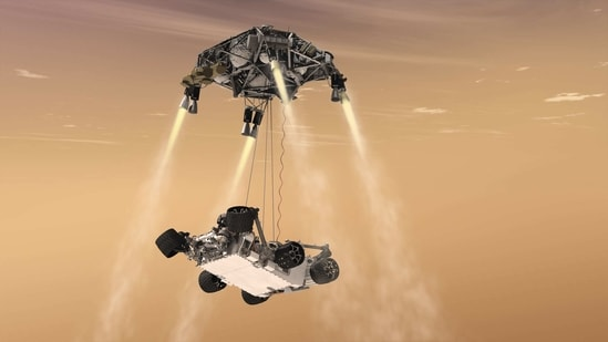The rover which is Nasa's largest ever 'robotic geologist and astrobiologist' will conduct several experiments over the next two years to determine whether the Red Planet harboured life.(Illustration/@NASAJPL/Twitter)