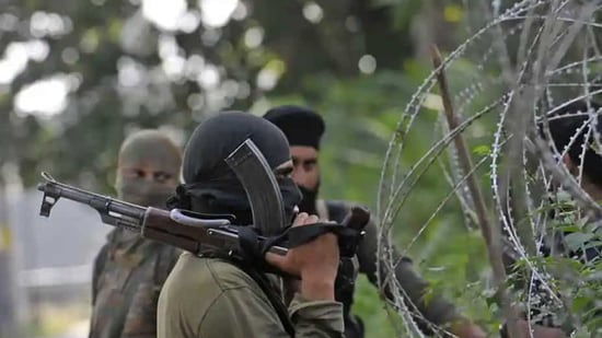 """A police spokesperson said: """"Preliminary investigation indicates involvement of two terrorists in the attack. One of them has been identified as Saqib, a local, and another FT (foreign terrorist), affiliated with LeT. Police have launched a manhunt to nab them."""" (Representative Image)(HT File Photo)"""