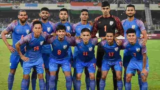 Indian football team Captain Sunil Chhetri (C) with teammates pose for photos ahead of FIFA World Cup Qatar-2022 Qualifier match against Bangladesh, at Salt Lake Stadium in Kolkata. (File photo)(PTI)